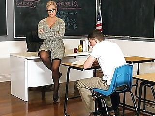 Mature teacher in stockings seduced young student sex in the office... stockings straight teacher