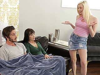 Mom and daughter entertain their holes a young boy... group sex milf step fantasy